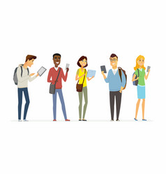 happy students checking their phones - cartoon vector image