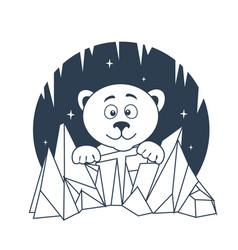 icon polar bear night vector image