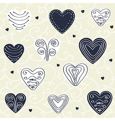Romantic pattern with hand drawn hearts vector image