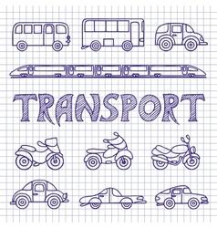 Set ground transport sketch vector image