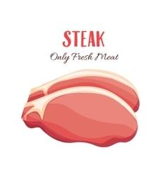 Steak in cartoon style vector image vector image