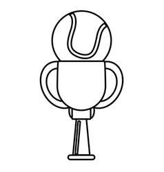 trophy tennis ball winner outline vector image vector image