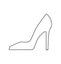 woman shoe sign black dashed icon on vector image vector image