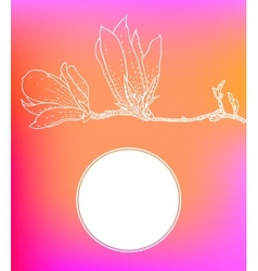 card with magnolia on pink background vector image vector image