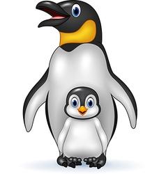Happy emperor penguin with baby vector