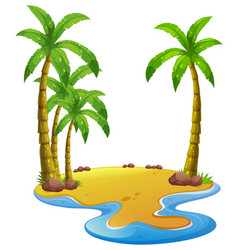 island with coconut trees vector image vector image
