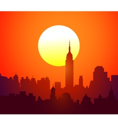 New York skyline and Sunset- vector image vector image