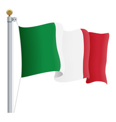 waving italy flag isolated on a white background vector image vector image