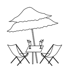 Beach table with cocktails icon outline style vector image
