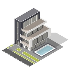 Modern residential building isometric icon set vector image vector image