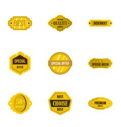 premium quality retro label icons set flat style vector image