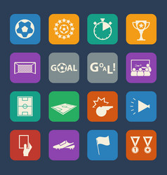 soccer icons set flat design for website and vector image vector image
