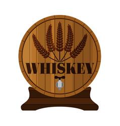 whiskey barrel premium quality wheat wreath flat vector image vector image