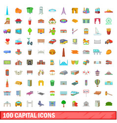 100 capital icons set cartoon style vector