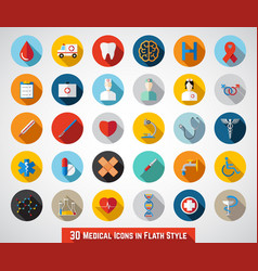 30 medical icons in flat style vector image
