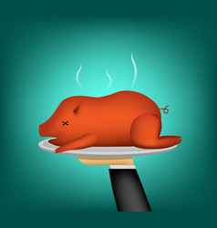 3d barbecued suckling pig on waiter hand vector image