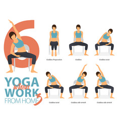 6 yoga poses for working at home vector