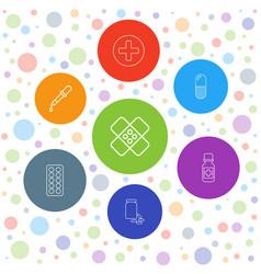 7 pharmacy icons vector image