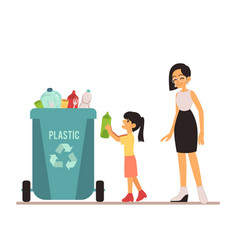 a young woman and girl throws out trash in a vector image