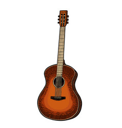 Acoustic guitar vintage black engraving vector