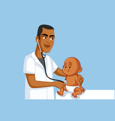 african pediatrician holding stethoscope vector image
