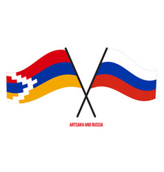 Artsakh and russia flags crossed and waving flat vector