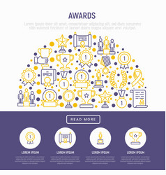 Awards concept in half circle with thin line icons vector