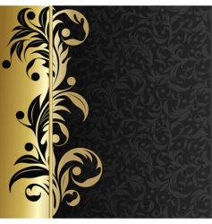 background with gold plants vector image