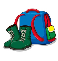 Backpack and camping boots vector