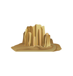 big stony mountain surrounded with sand nature vector image