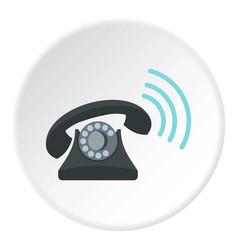 Black retro phone ringing icon circle vector
