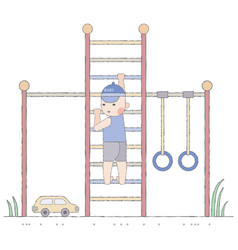 boy playing in the playground on the stairs vector image