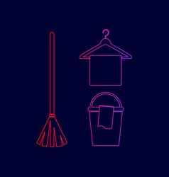 broom bucket and hanger sign line icon vector image