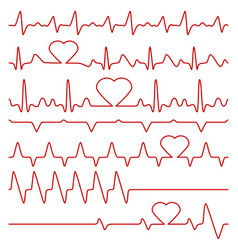 Cardiogram and pulse symbols with heart vector