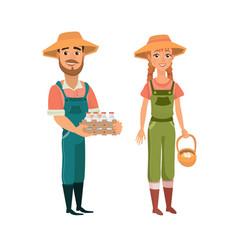 cartoon farmers vector image
