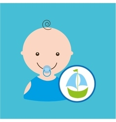 Cartoon sailboat toy baby icon design vector