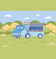 cartoon truck at street food festival in park vector image