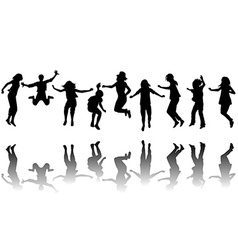 Children silhouettes jumping vector image