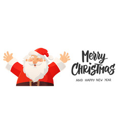 christmas banner with funny cartoon santa claus vector image