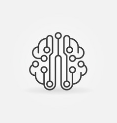 Circuit board brain simple outline icon vector