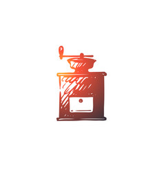 coffee grinder mill drink cafe concept hand vector image