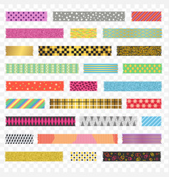 Color washi tape strips different types set vector