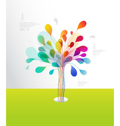 Colorful tree created from lines and leafs vector