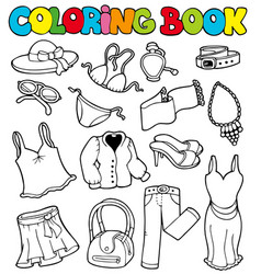 coloring book with apparel 2 vector image