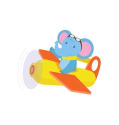 cute cute animal elephant flies on a funny plane vector image