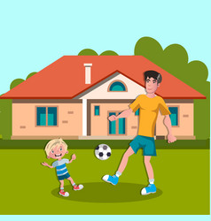 dad and boy playing soccer vector image