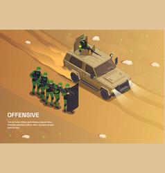 Desert army attack background vector