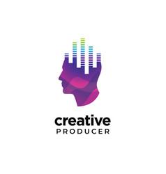 Digital abstract human head logo for creative vector