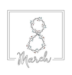 elegant 8 march postcard template in minimalism vector image