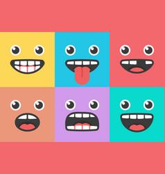 emoji smile trendy faces ve ctor vector image